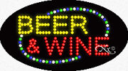 New Beer And Wine 27x15 Oval Solid/animated Led Sign W/custom Options 24132