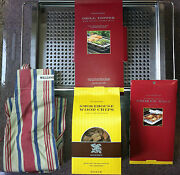 New William Sonoma Grill/bbq Set Grilling Rack W/smoker Chips Apron And Bags