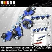 For 1992-1996 Honda Prelude Front Camber Kit 4pcs Blue Adjustable