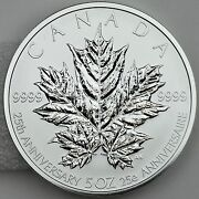 2013 Maple Leaf 5 Oz. 50 Pure Silver Reverse Proof 25th Anniversary Only 2500
