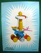 Vintage Moustakas Wooden Flying Planes Pull Toy 1960's