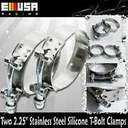 2x2.25 Stainless Steel T-bolt Clamps Silicone Coupler Intercooler Turbo Intake