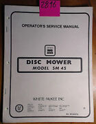 Mckee Sm 4s Disc Mower Ownerand039s Operatorand039s Service And Parts Manual 823573