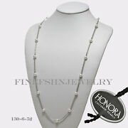 Authentic Honora Silver 8-9mm White Round Ringed Pearl 36 Necklace 130652