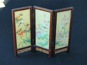 Silk And Wood Folding Screen With Well Painted Landscape And Flowers With Birds