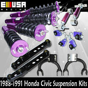 For 88 89 90 91honda Civic Coilover+fandr Camber+front Upper Arm+lower Control Arm