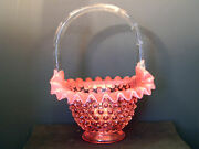 Fenton Cranberry Hobnail Basket Over 7 Inches High 1780