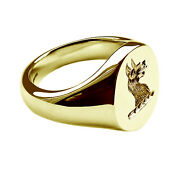 18ct Yellow Gold Family Crest Oval Signet Rings Your Hand Engraved Solid 13x11mm