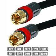 3-100ft Rca Male To Male Rg6u Digital Coax Coaxial Cable Double Shielded Gold