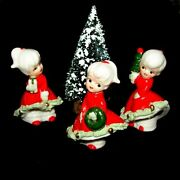Vintage Enesco Girl Figurines W/ Freckles And Bloomers Christmas Angel Face Girls