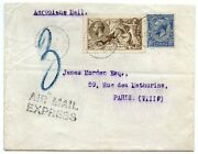 Rare 1919 Express Airmail Cover To France With Bw 2/6 Pale Brown Seahorse + 2½d
