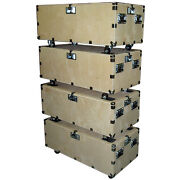 48 Crate Style Trunk Cases - 1/2 Ply Heavy Duty W/wheels - 4 Pc Stacking Set