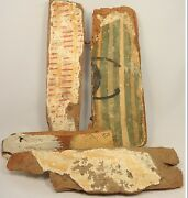 4 Pieces Of Egyptian Wood From Sarcophagi Late Period 664 - 30 B.c.