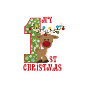 Christmas First Occasion Rudolph Iron On Heat Transfer T-shirt Fabric Lot Mlp