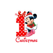 Christmas Minnie Mouse First Occasion Iron On Heat Transfer T-shirt Fabric Lot