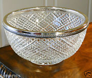 Faberge Waffle Centerpiece Bowl Clear Crystal Silver Plated Bronze Rim