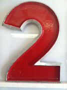 Vintage Cast Metal Movie Marquee Sign Letters Red With Silver Trim 12 Tall