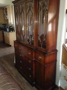 Antique Breakfront Secretary Bookcase C1940and039s Curved Glass