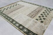 Rs23823 Gorgeous Wool And Silk Green Tibetan Area Rug 8and039 X 10and039 Handmade In Nepal