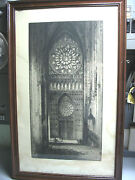 Andrew F. Affleck Cathedral Interior Engraving 1917 Orig. Print Signed