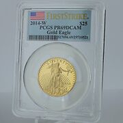 2014 W 25 Gold American Eagle 1/2 Oz. Proof Coin Pcgs Pr69dcam First Strike