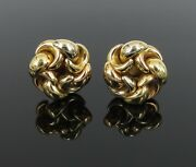 Vintage Italian Flowers And Crescent 18k Rose And Yellow Gold Clip Earrings