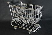 Small Vintage Stainless Steel Grocery Shopping Cart Toy With Functioning Wheels