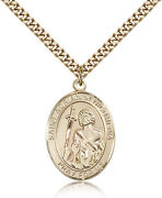 Saint Adrian Of Nicomedia Medal For Men - Gold Filled Necklace On 24 Chain -...