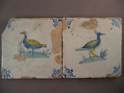 2 Antique Dutch Polychrome Tiles Duck And Lapwing 17th - Free Shipping