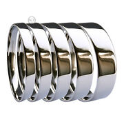 18ct Hm White Gold Flat Court Profile Wedding Bands Ring 2 2.5 3 4 5 6 8mm