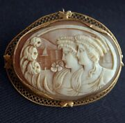Victorian 14k Carved Shell 2 Ladies Cameo Pin Pendant