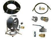 Sewer Jetter Kit - Ball Valve 100and039 X 1/8 Hose Reel And Nozzles