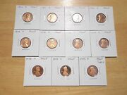 1970 1971 1972 1973 -1977 1978 1979 S Type 1 And 2 Lincoln Penny Proof 11 Coin Set