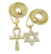 Mens Hip Hop Gold Ankh Cross And 6 Point Star Pendant Box Chain Necklaces