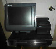 Micros Model Workstation 4 Ws4 Pos System Unit With Cash Drawer And Printer