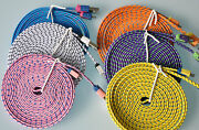 Lot Flat Braided 6ft Fabric Charge Cables For Galaxy S3 S4 Micro Usb Data Sync