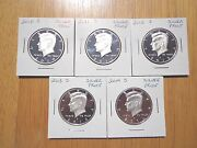 2010 2011 2012 2013 2014 S Silver Proof Kennedy Half Dollar 5 Coin Lot Set