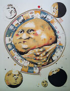 Dennis Geden Canadian - S/n Lithograph- Man In The Moon Whistles A Tune 1973