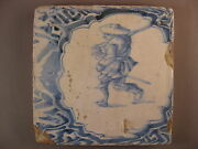 Antique Dutch Waster Tile Human Very Rare 17th Century -- Free Shipping