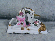 Franklin Mint Unicorn Hand Painted Pink Bow Flower Motif Gold Highlights