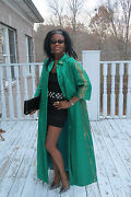 Couture Hand Painted Emerald Green And Gold Silk Full Length Cape Coat Gown S 0-6
