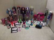 Monster High Dolls Lot W/many Accessories Science Frog Pink Locker Watch Tins ++