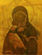 Antique 18c Hand Painted Russian Icon Of The Vladimir Mother Of God