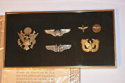 Vintage Wwii Aaf, Us Army Air Force Pilot Wings, Badges And Pins Framed 6 Pieces