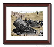 Battery Cannon Soldiers Mortar 11x14 Framed Photo Print Color Civil War -01001