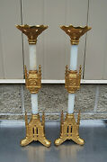 +vintage Pair Of Traditional Gothic Altar Candlesticks + 20+ Chalice Co.1021