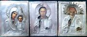 Antique 19c Handpainted3 Russians Silver Icons Stnicholaschristmother Of God