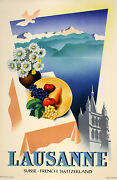 Original Vintage Poster Lausanne Cathedral By Walther 1947 Swiss Alps