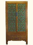 A Chinese Big Cabinet Decorated With Beautiful Carved And Green Glass Intricate