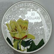 2015 20 Forests Of Canada Carolinian Tulip-tree 1 Oz 99.99 Pure Silver Proof